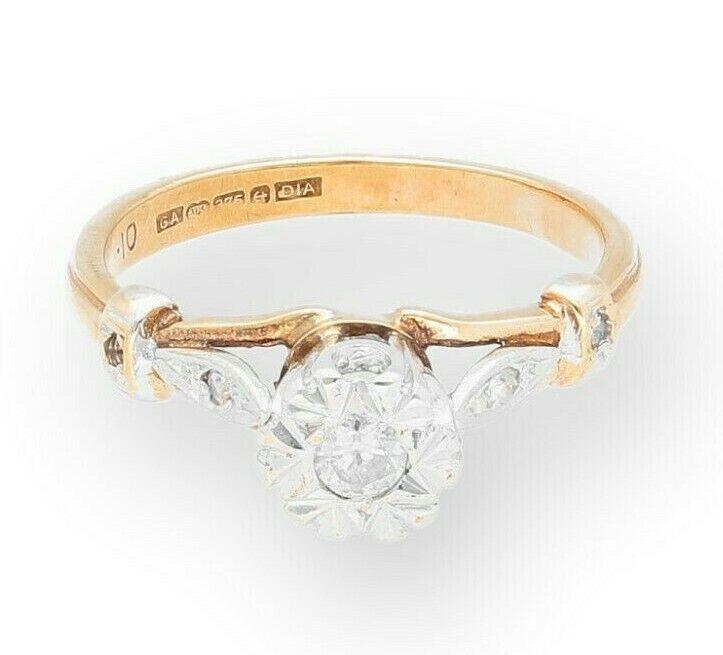 VINTAGE oro giallo 9 CARATI 0.10ct diamante solitario con con con accenti anello dimensione (J) 246061