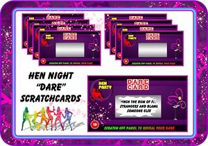 Hen Night Party Dare Scratchcards Funny Scratch Cards Invitations Wedding gift