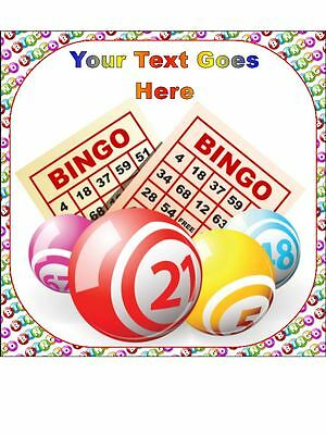 Bingo Personalised Edible Icing Cake Topper Square Round or Ribbon