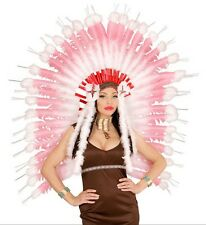 Deluxe Pink Feather Native American Indian Chief Headdress Fancy Dress Accessory