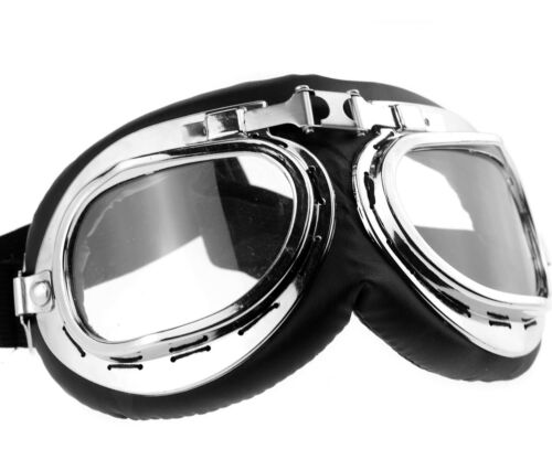Vintage Pilot Aviator Style Silver Lens Motorcycle Goggles Black Leather