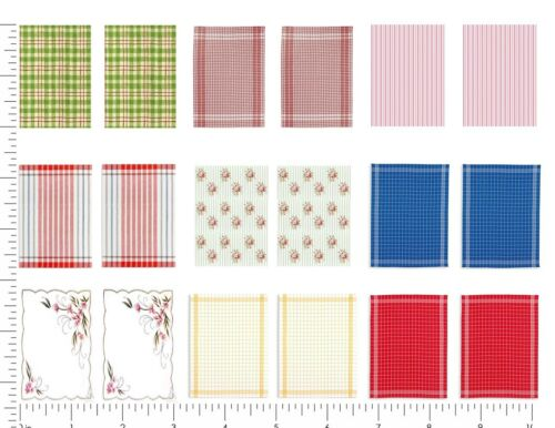 Dollhouse Miniature Computer Printed Fabric Shabby Chic Dish Kitchen Towels 1:12
