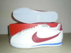 New-Womens-Nike-Classic-Cortez-Leather-White-Red-Blue-034-B-034-Shoes-sz-8