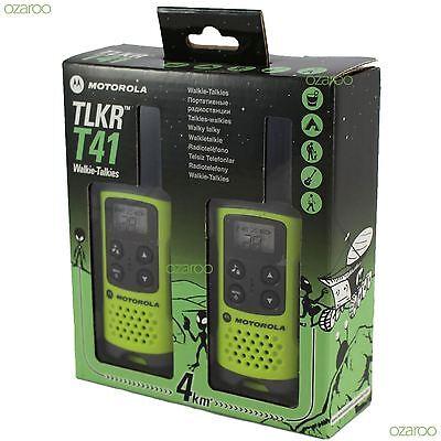 2 Motorola TLKR T41 Walkie Talkie PMR 446 2 Way 4KM 2M Radio Set Twin Pack Green