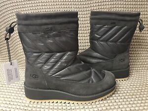 587df82aa96 Details about UGG BECK CHARCOAL WATERPROOF SUEDE/ NYLON WINTER BOOTS, US 7
