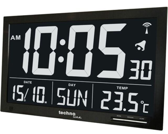 TECHNOLINE WS 8007 JUMBO LCD FUNK-WANDUHR WANDUHREN DATUM ZAHLENGRÖßE 110 MM