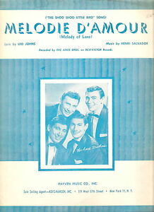 1957-AMES-BROTHERS-Sheet-Music-MELODIE-D-039-AMOUR-Photo-Cover-SHOO-SHOO-LITTLE-BIRD