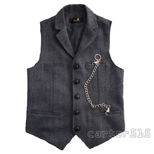 Men-039-s-British-Style-Formal-Business-Dress-Wool-Blend-Tweed-Vest-Waistcoat-Retro