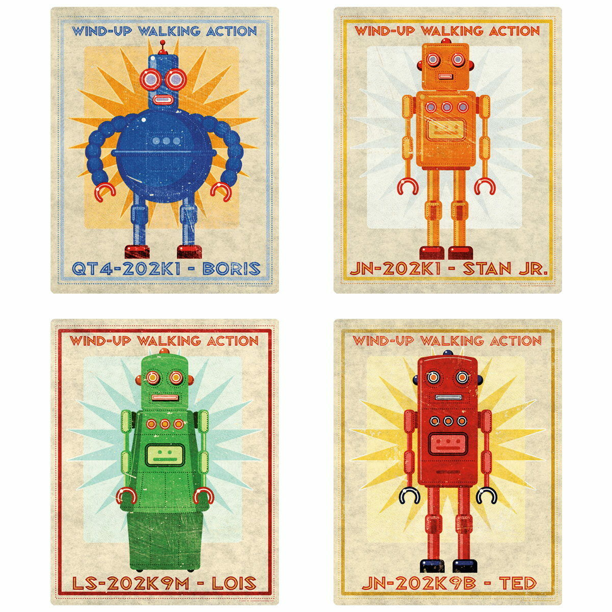 Tin Toy Retro Robot Box Art Wall Decal Set Vintage Style Home Decor Bundle