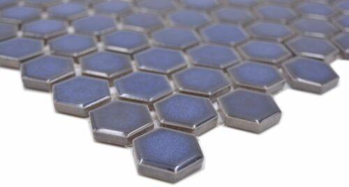 Keramikmosaik Hexagon kobaltblau glänzend Wand Boden Küche Bad WB11H-0444 1Matte