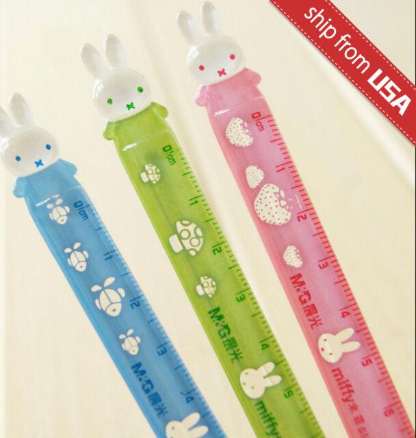Lot 2pcs M&G Miffy Rabbit cartoon bunny Metric 12cm ruler kawaii cute kids fun