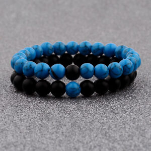 2pcs/set Couples Distance Bracelet Bleu Et Noir 8 Mm Natural Stone Bracelets-afficher Le Titre D'origine
