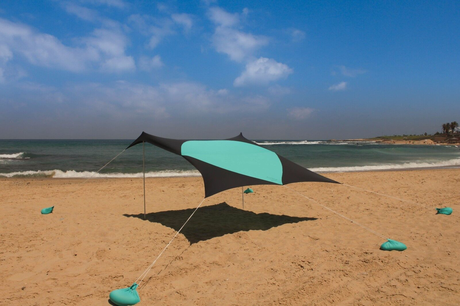XL Beach Sun Shade 10ft x 10ft Canopy For 8 People by White Rabbit Art Studio