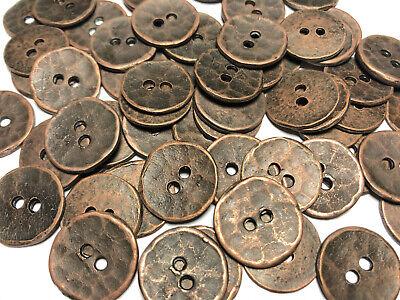 "old 50 Antique Brass Metal Button Double Rim Design 18mm 11//16/"" 4hole"