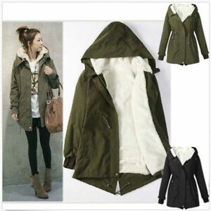 Women Parka Coat Winter Warm Fur Hoodie Fleece Overcoat Jacket ...