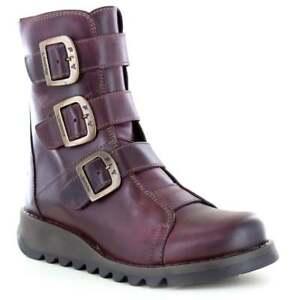f5449426e12 Fly London Scop 110 Womens Leather 3-Buckle Zip Boots Purple   eBay