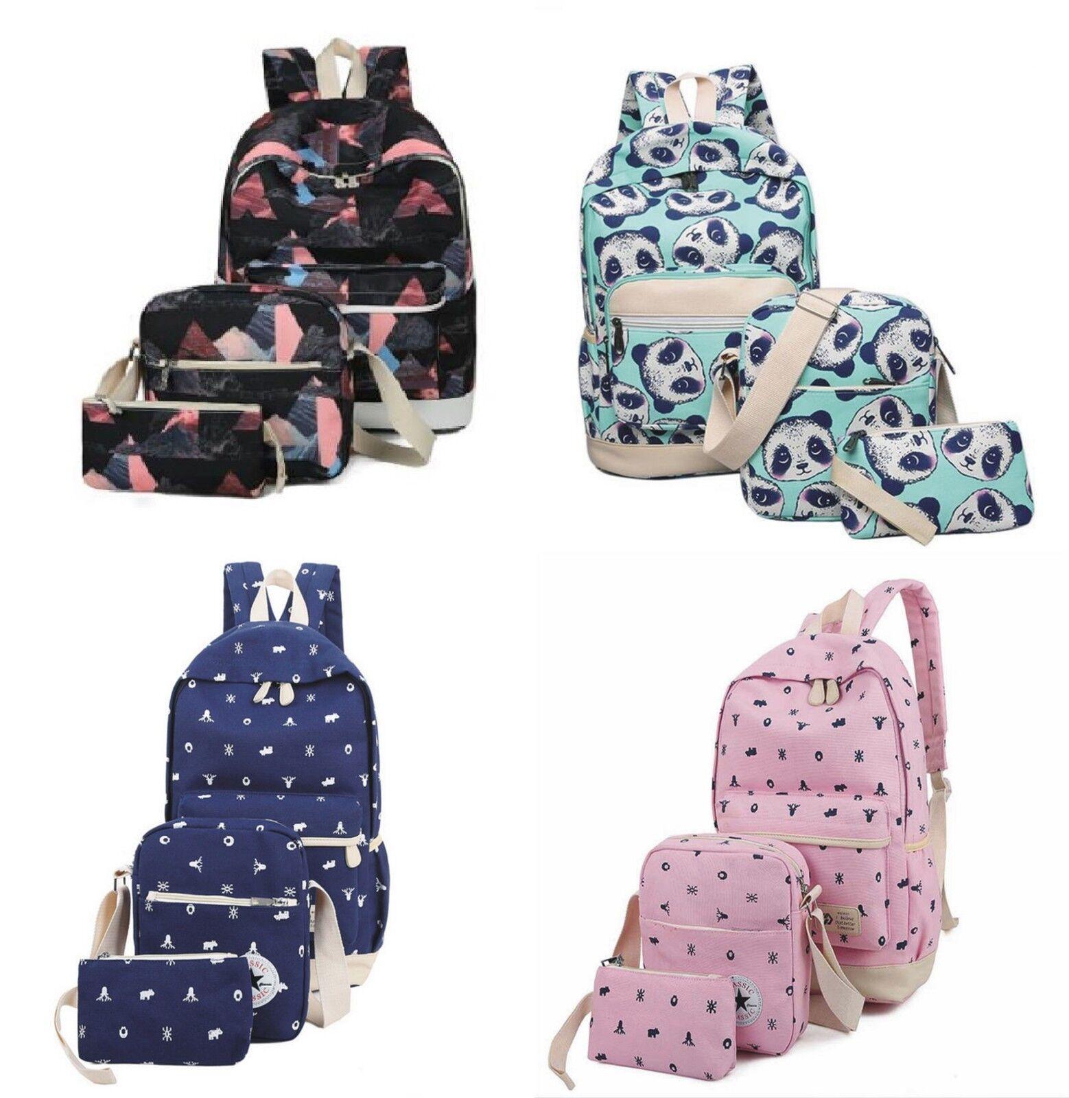 dabd71b223a5 3Pcs/Set Women Girl Canvas Backpack Laptop School Shoulder Bag Travel Book  Bags