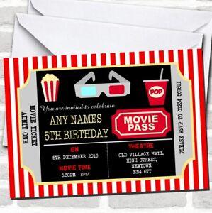 Movie Cinema Ticket Children S Birthday Party Invitations Ebay