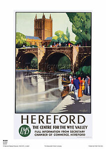 HEREFORD-RETRO-VINTAGE-RAILWAY-TRAVEL-POSTER-HOLIDAY-ADVERTISING-HEREFORDSHIRE