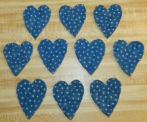 10 Primitive Antique Cutter Quilt Small Hearts Indigo Blue With Stars Ebay