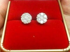 Deal-10K-Gold-1-05-CTW-Round-Genuine-Diamond-Cluster-Flower-Studs-Earrings-8MM
