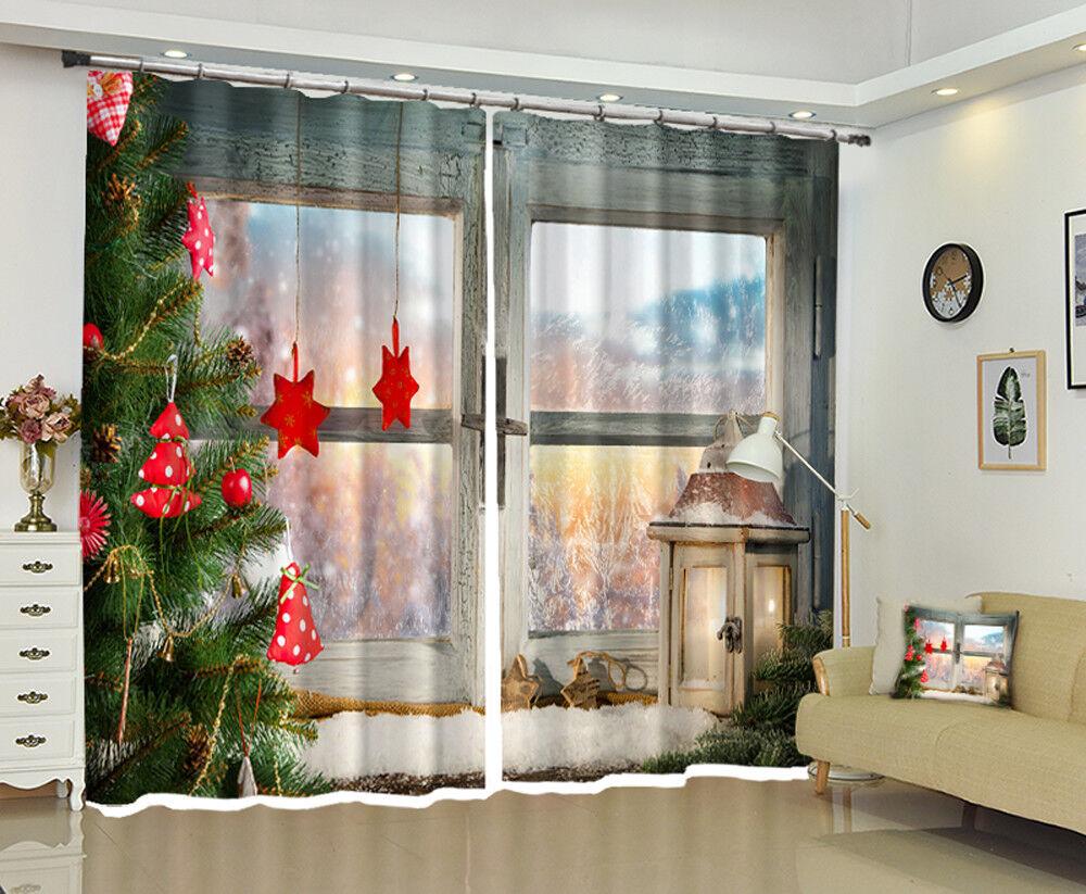 3D Christmas Xmas Tree Room 55 Blockout Photo Curtain Print Drapes Fabric Window