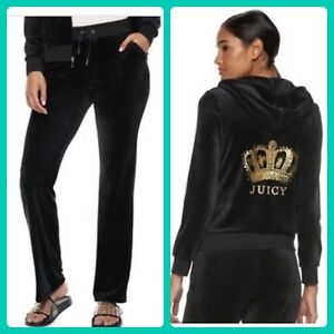New Women s Juicy Couture Tracksuit Black Small Velour Hoodie Pants ... c2a0167db