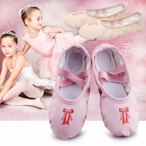 10 Sizes Kids Girls Ballet Dancing Shoes Leather Canvas Slippers Yoga Flats NEW