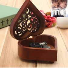 HEART WOOD SILVER WIND UP MUSIC BOX : MY HEART WILL GO ON @ TITANIC