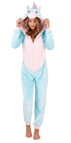 Womens 3D Unicorn All In One Pyjamas Hooded Sherpa Fleece Nightwear Jumpsuit