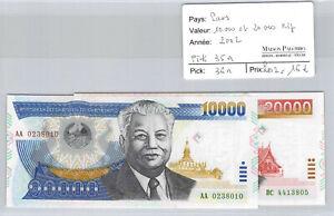 Laos 10.000 And 20.000 Kip 2002 Pick 35a/36a