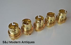 Edwardian (1901-1910) Diy Materials 5 Nickel Brass Bayonet Fitting Bulb Holder Lamp Earthed Shade Ring 10mm
