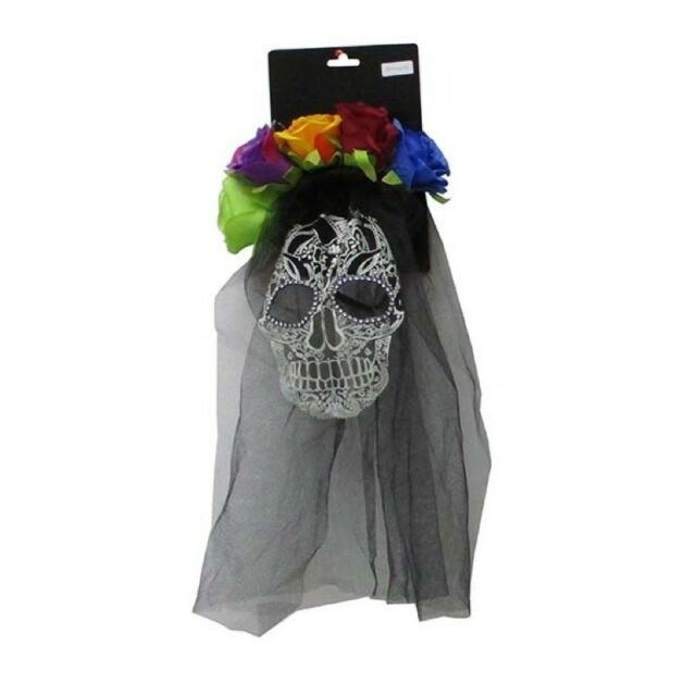 Day of the Dead Veil Headband with Flower