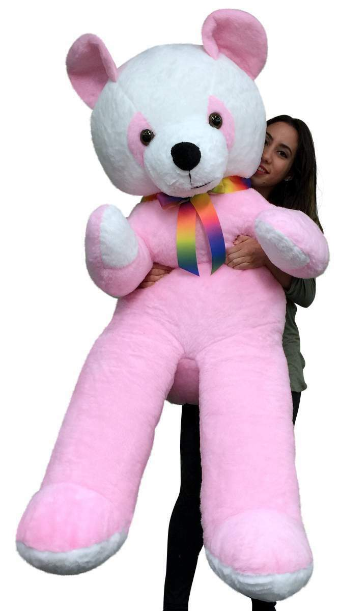 American Made 6 Foot Giant Stuffed Panda Bear 72 Inches Pink Soft Made in USA