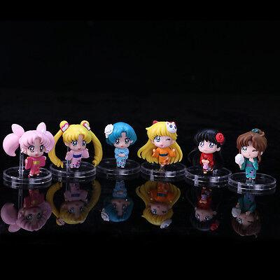 Generation 7th Sailor Moon Summer Bathrobes Kimono 6pcs Set Figure Figurine NB