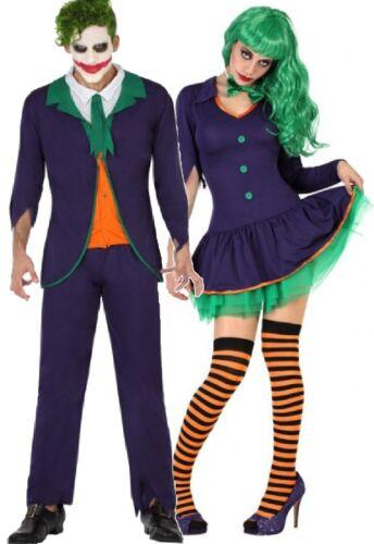 Les couples Femmes /& Homme Drôle Clown Méchant Film Halloween Déguisements Costumes