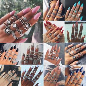 Le-Donne-Argento-Oro-Boho-pila-pianura-sopra-Knuckle-anello-mezzo-dito-Anello-Regali