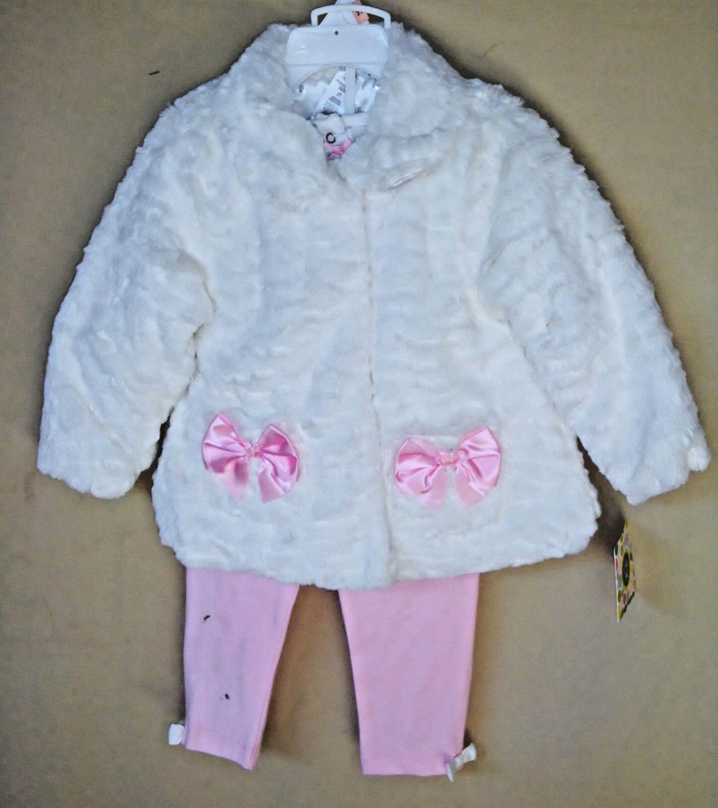 91700aac3 Little Me White Fur 3 PC Jacket Set W pink Leggings Girl Size 2 ...