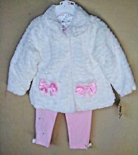 LITTLE ME White Fur 3 pc Jacket set w//Pink Leggings GIRL SIZE 4 TODDLER NWT