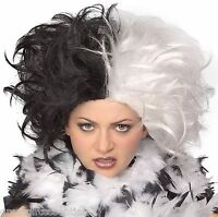Cruella De Vil Wig Black & White Ms. Spot Hair Adult Deville 101 Dalmations