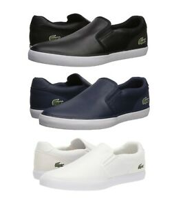 Lacoste-Jouer-319-Men-039-s-Casual-Leather-Slip-on-Shoes-Sneakers-Black-Blue-White