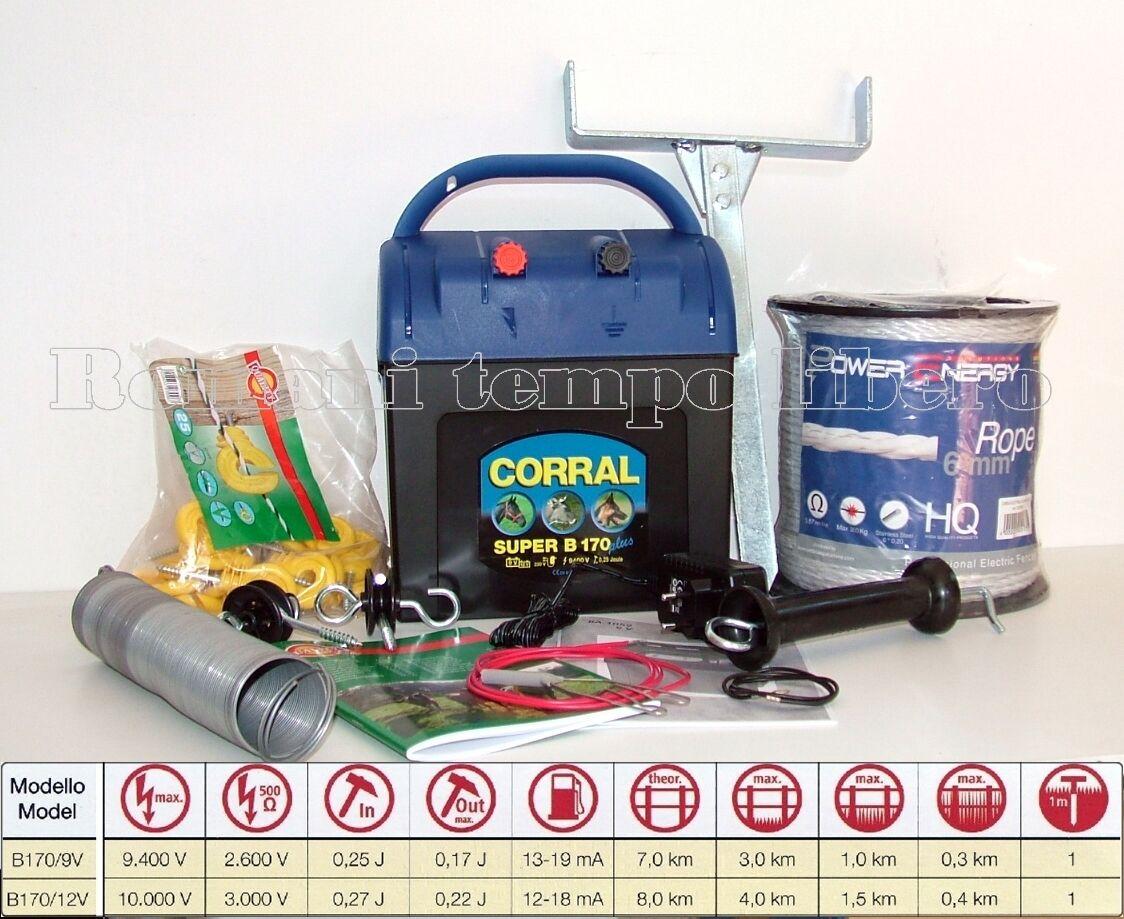 RECINTO ELETTRICO SUPER CORRAL B170 CON CORDA ELETTRICA DA 6 MM.  ED accessori
