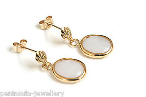 9ct-Gold-Opal-oval-Drop-Earrings-Gift-Boxed-Made-in-UK-Christmas-Gift
