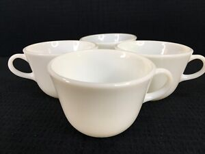 Vintage Pyrex White Coffee Tea Cups Set Of 4 Corning Made In USA