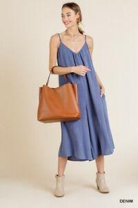 Umgee-Linen-Cotton-Denim-Solid-Pant-Jumpsuit-S-M-L