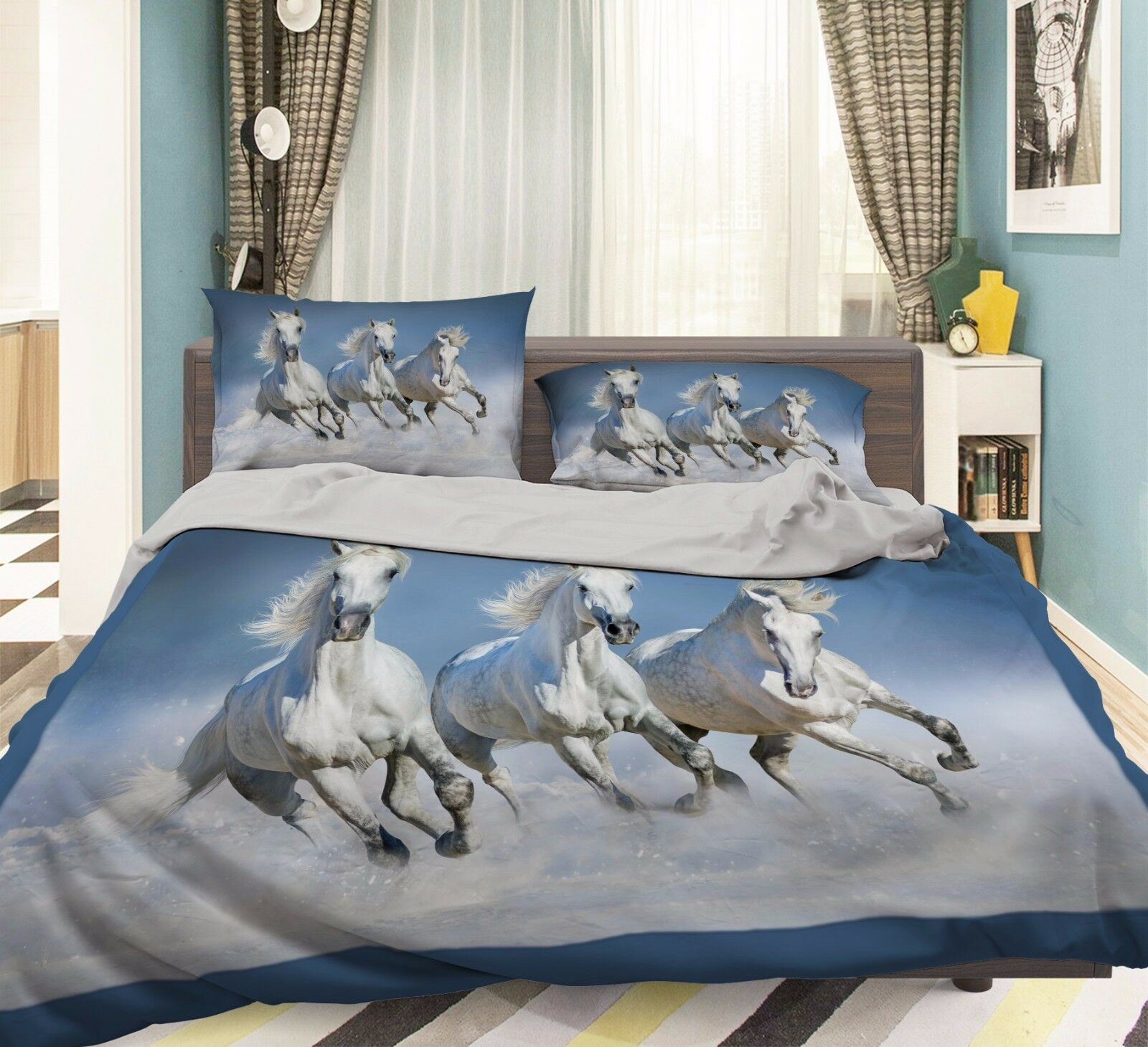 3D Weiß Horses 869 Bed Pillowcases Quilt Duvet Cover Set Single Queen UK Summer