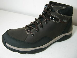 Mens Clarks Rampart On Gtx Brown Nubuck Waterproof Lace Up Casual Ankle Boots