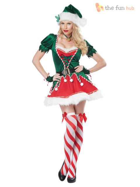 Ladies Deluxe Christmas Elf Santas Helper Festive Fancy Dress Costume UK 8-18