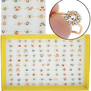 10pcs-set-Bulk-Gold-Plated-Cute-Kids-Children-Party-Crystal-Rings-Wholesale