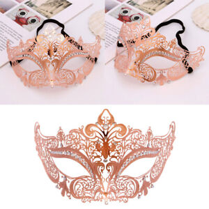 Rhinestones Metal Luxury Venetian Laser Cut Masquerade Filigree Mask Rose Gold
